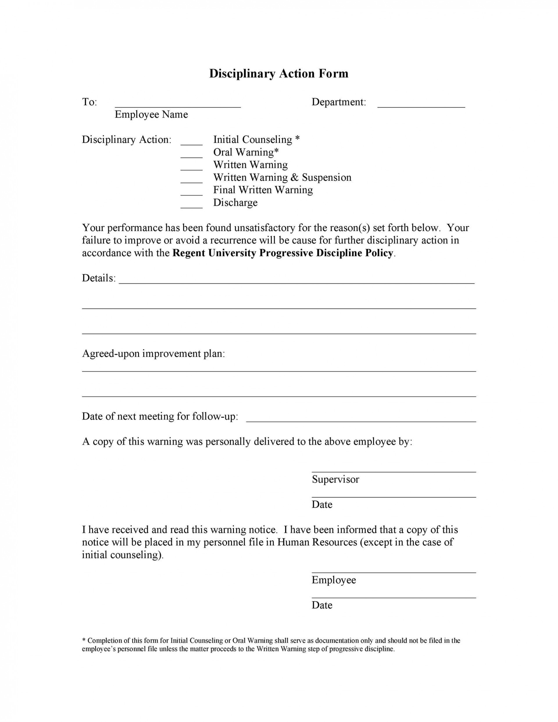 003 Exceptional Employee Discipline Form Template Concept  Free Disciplinary Letter Action1920