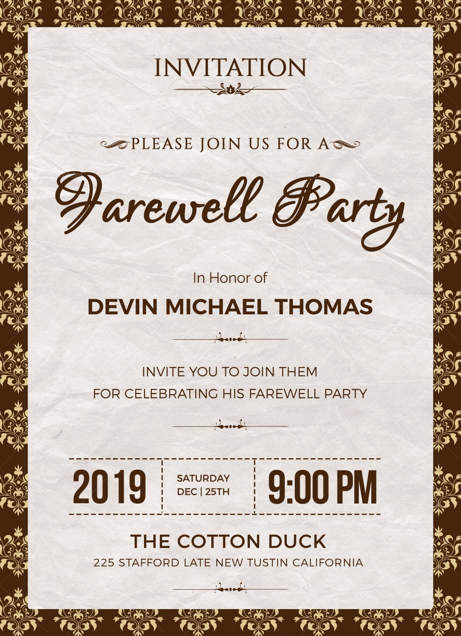 003 Exceptional Farewell Party Invitation Template Free High Definition  Email Printable Word1920