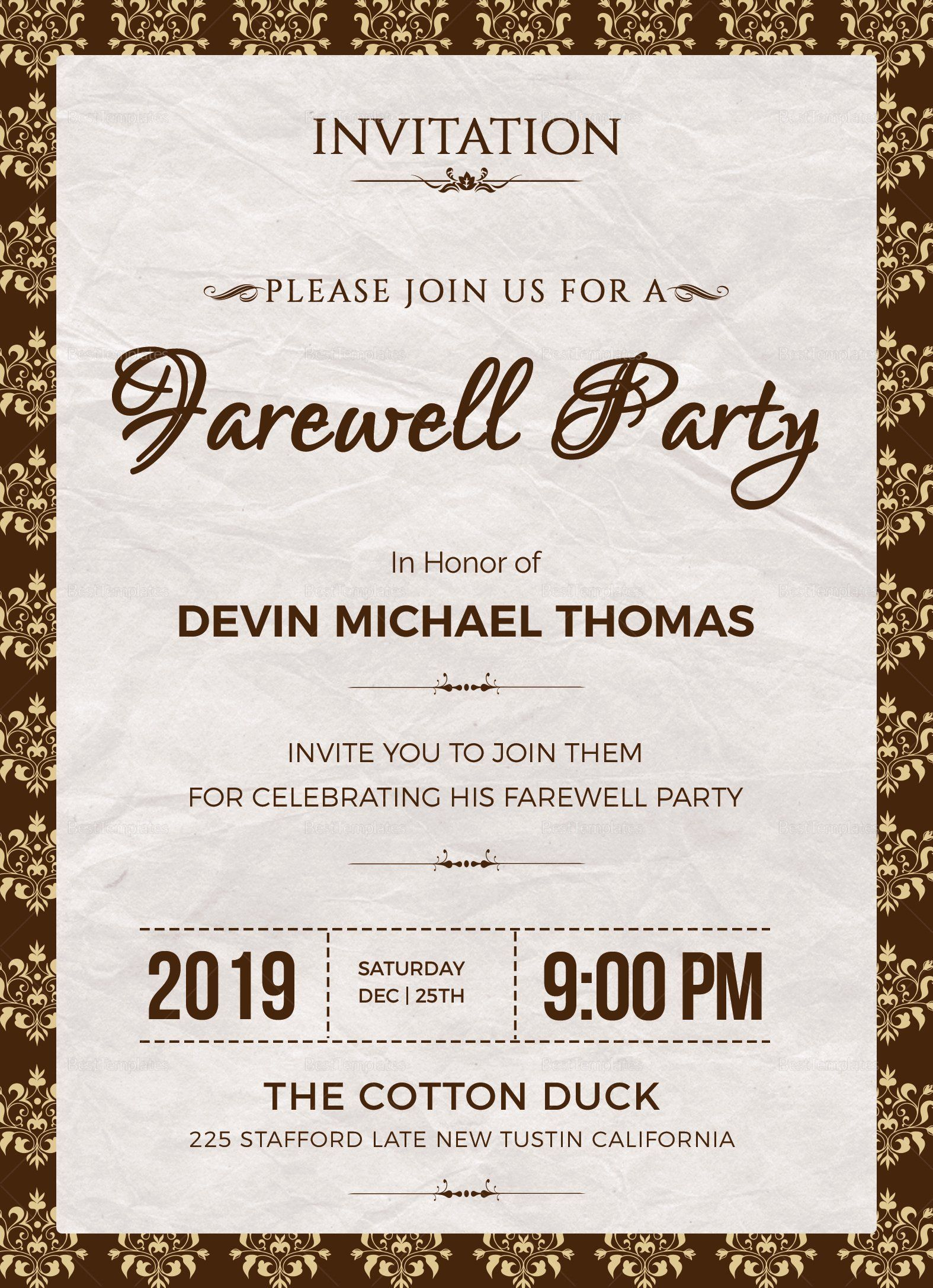 003 Exceptional Farewell Party Invitation Template Free High Definition  Email Printable WordFull