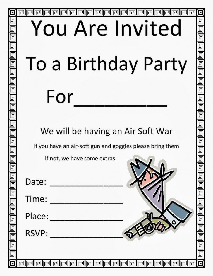 003 Exceptional Free Birthday Party Invitation Template For Word Sample 728