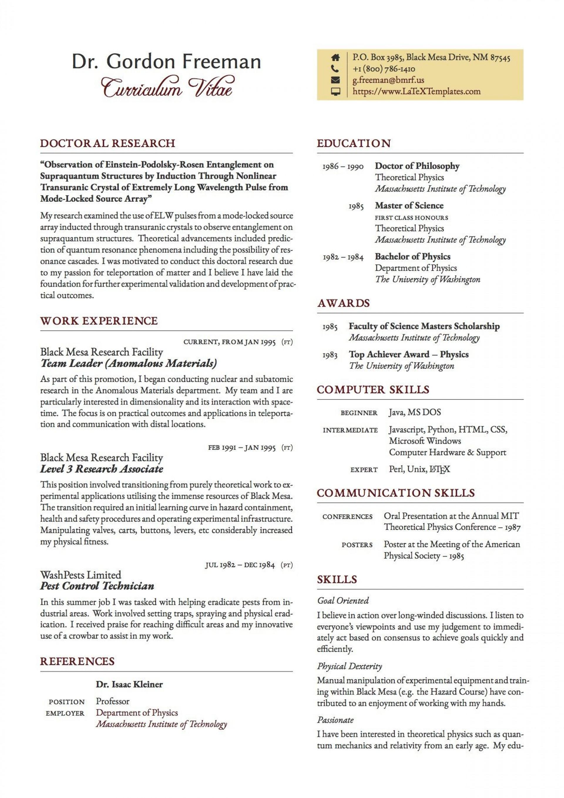 003 Exceptional Latex Resume Template Phd Inspiration  Cv Graduate Student Economic1920