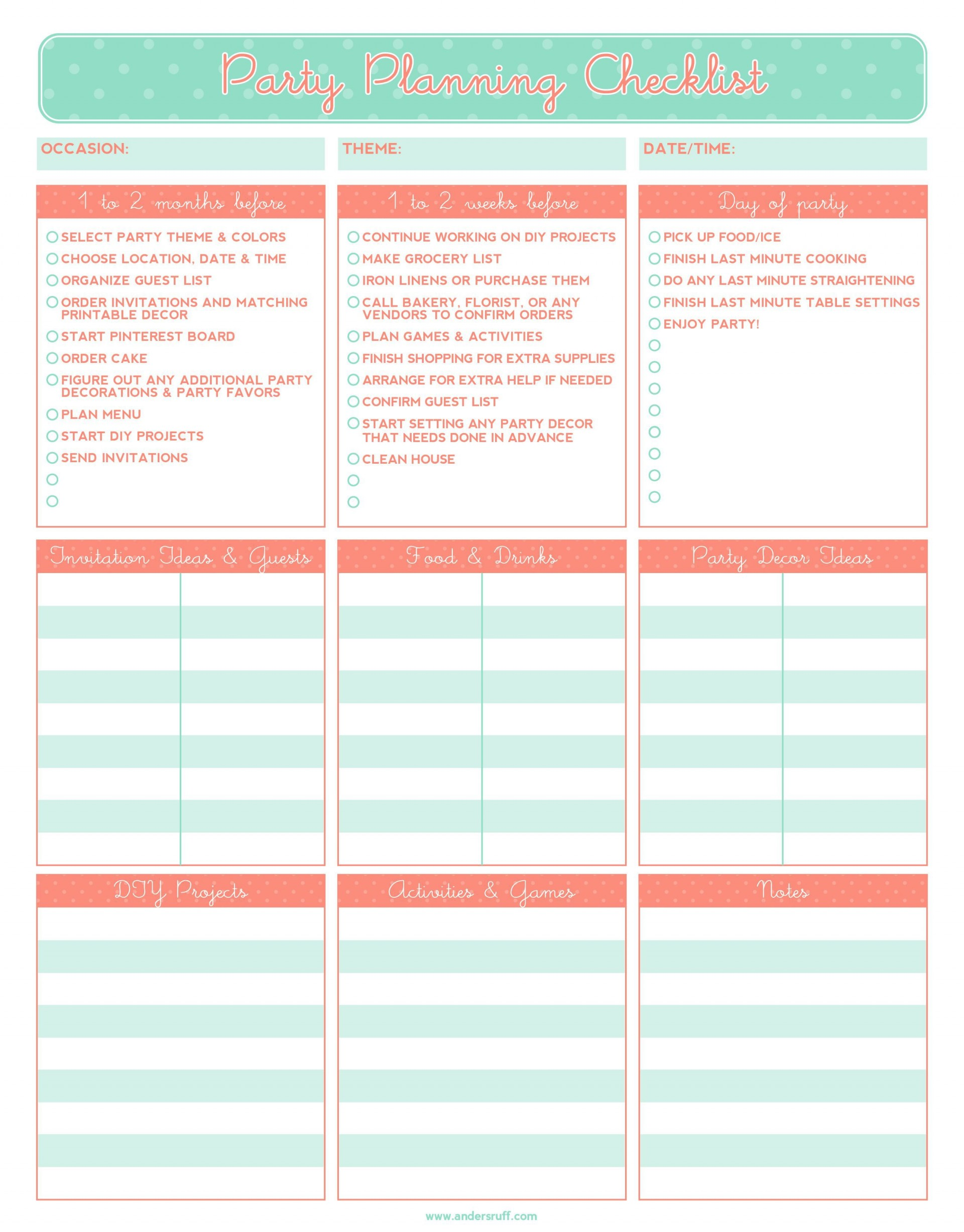 003 Exceptional Party Plan Checklist Template High Resolution  Planning Free Graduation Birthday1920