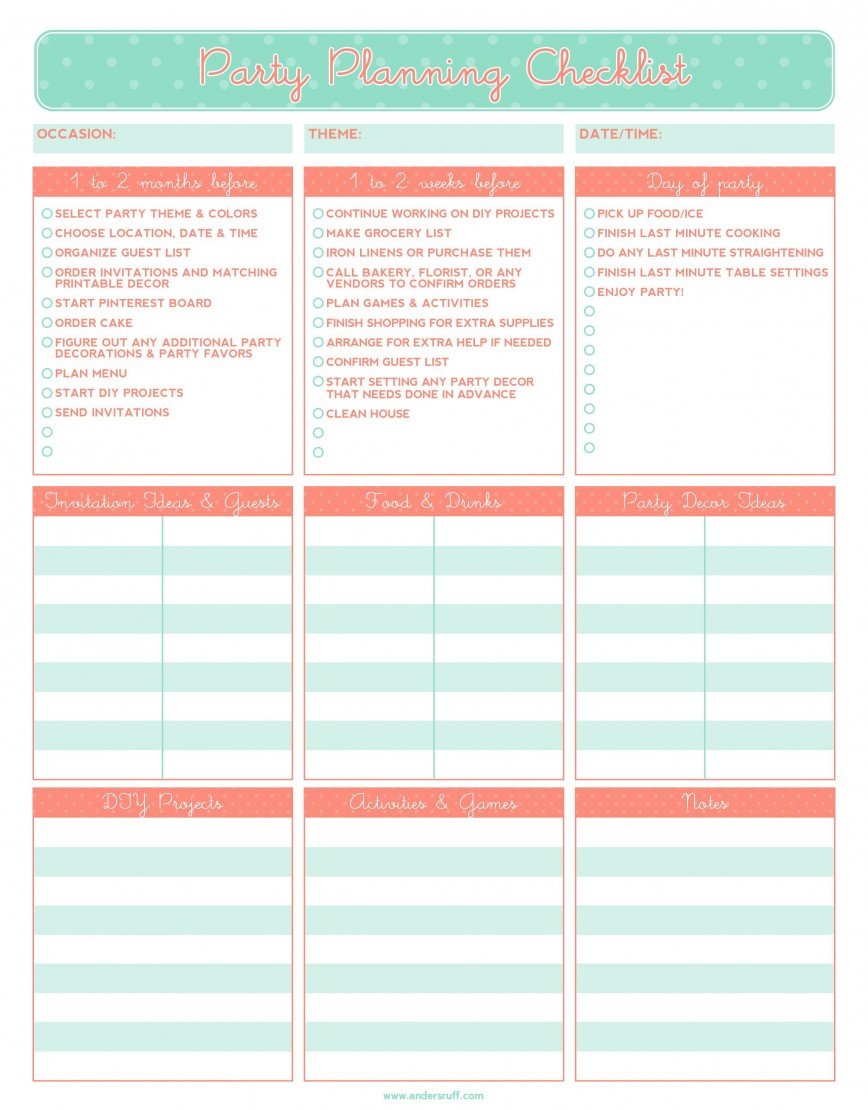 003 Exceptional Party Plan Checklist Template High Resolution  Planning Word Event Excel Free