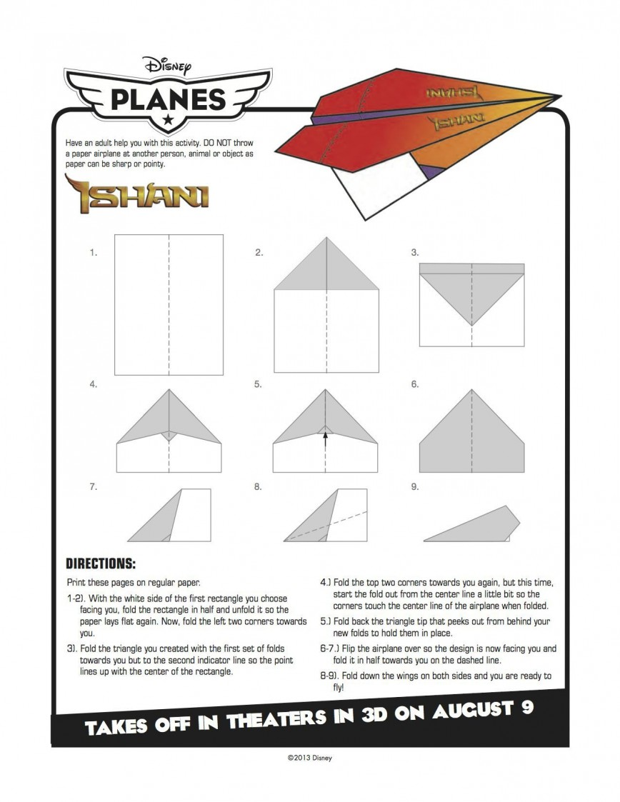 003 Exceptional Printable Paper Airplane Instruction Highest Quality  Simple Free Folding868
