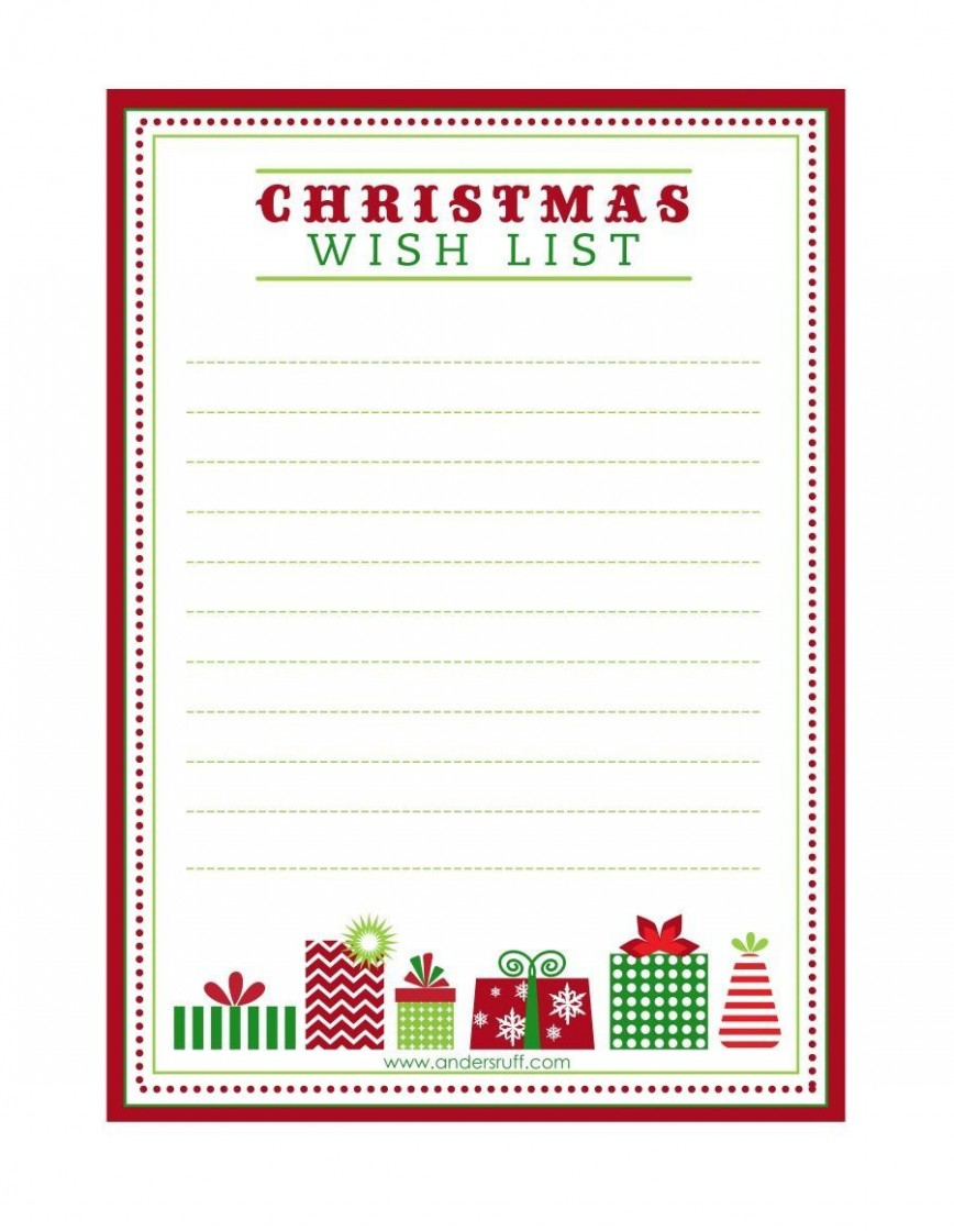 003 Exceptional Printable Wish List Template Highest Quality  Christma Free Pdf868