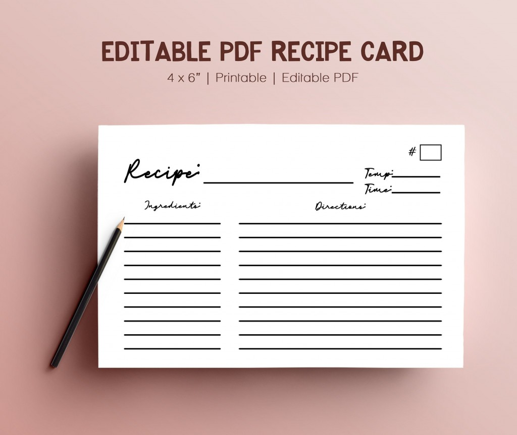003 Exceptional Recipe Card Template For Word Example  Printable Blank FillableLarge
