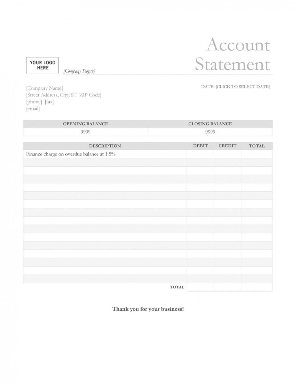 003 Exceptional Statement Of Account Template Photo  Uk Free Doc Customer960