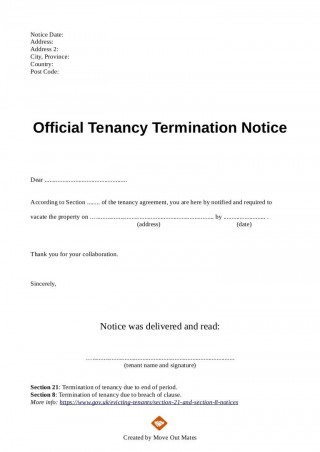 003 Exceptional Template Letter To Terminate Rental Agreement Design  End Tenancy For Landlord Ending320