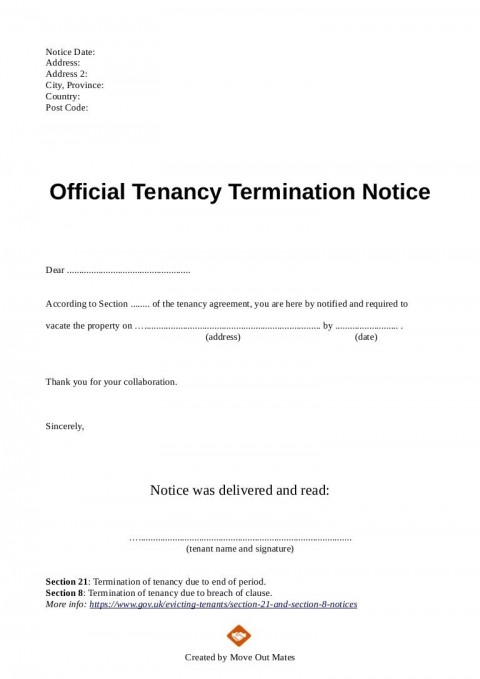 003 Exceptional Template Letter To Terminate Rental Agreement Design  End Tenancy For Landlord Ending480