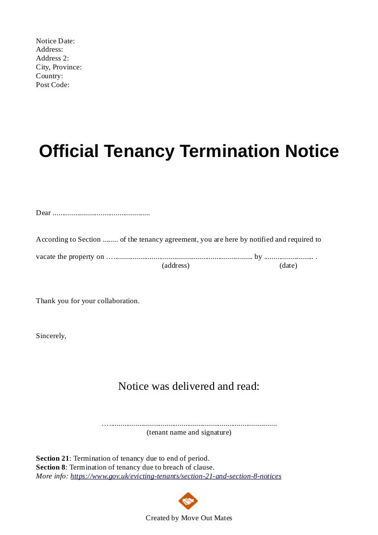 003 Exceptional Template Letter To Terminate Rental Agreement Design  End Tenancy For Landlord EndingFull