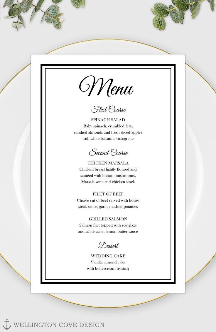 003 Exceptional Wedding Menu Card Template Word Design Full