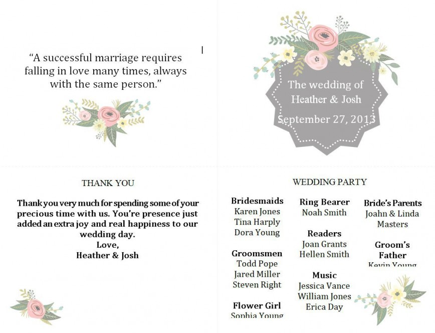 003 Exceptional Wedding Program Template Free Download Example  Editable Word