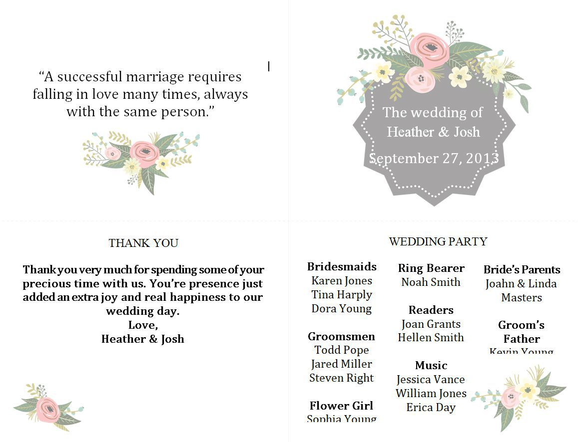 003 Exceptional Wedding Program Template Free Download Example  Downloadable Fan Microsoft Word Printable EditableFull