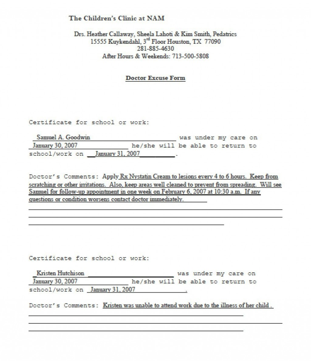 003 Fantastic Doctor Note For School Template Idea  Example FakeLarge