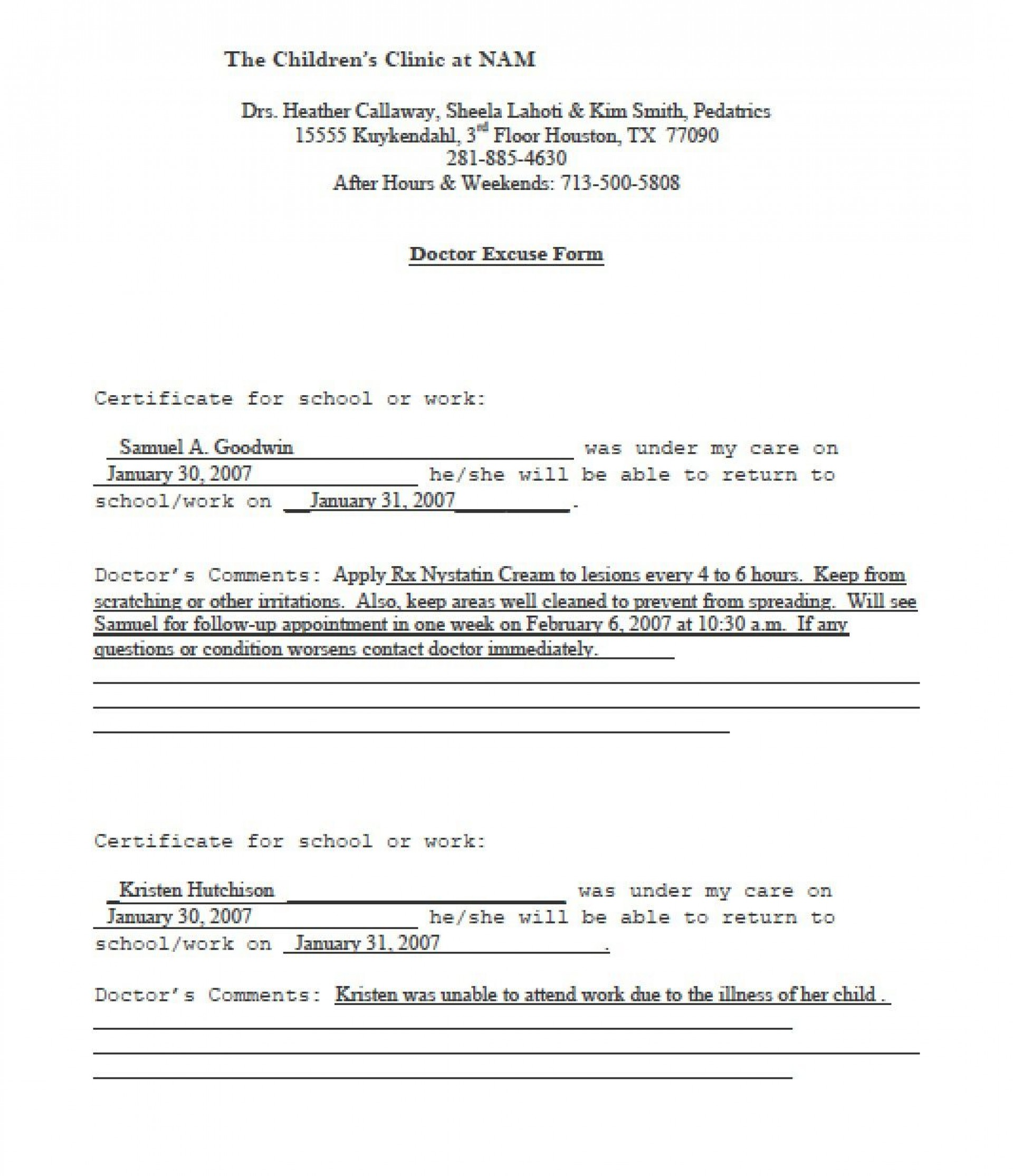 003 Fantastic Doctor Note For School Template Idea  Example Fake1920