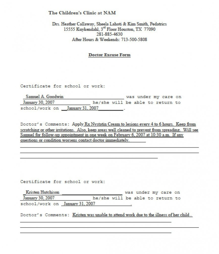 003 Fantastic Doctor Note For School Template Idea  Absence Doctor' Sample Example