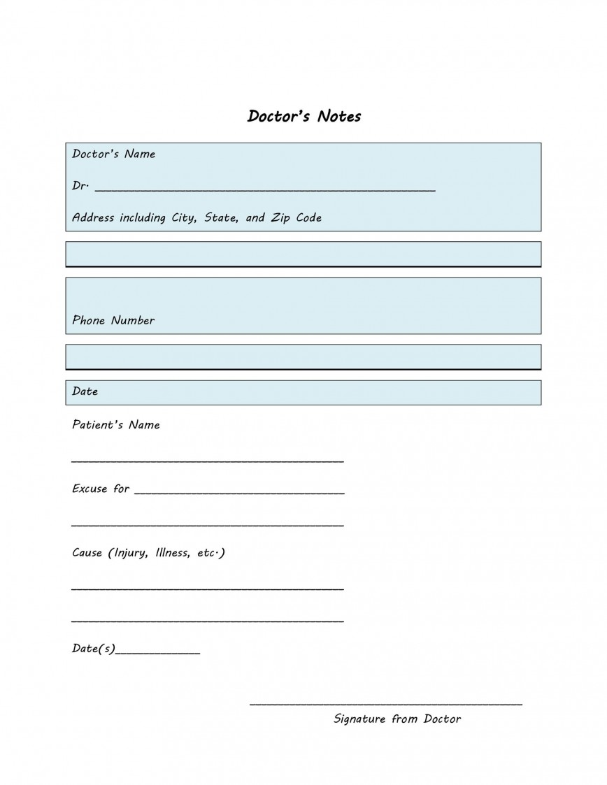 Free Doctor Note Template Addictionary