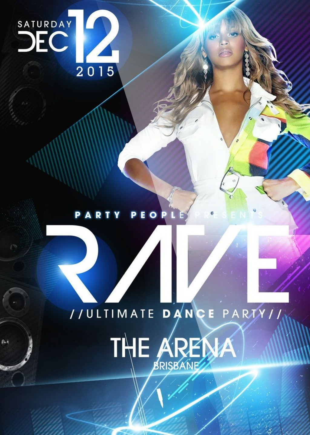 003 Fantastic Free Psd Party Flyer Template Download Photo  - Neon Glow RaveLarge