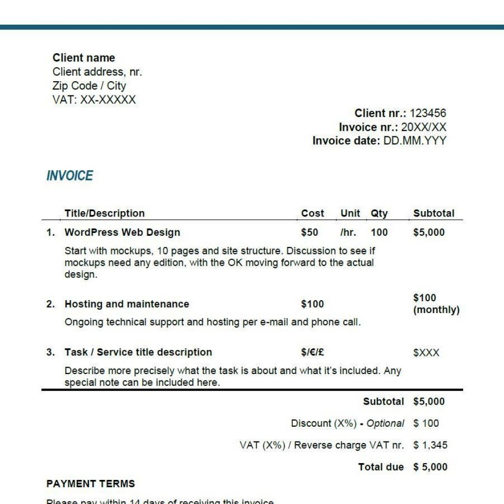 003 Fantastic Freelance Writer Invoice Template Picture  Writing Word UkLarge