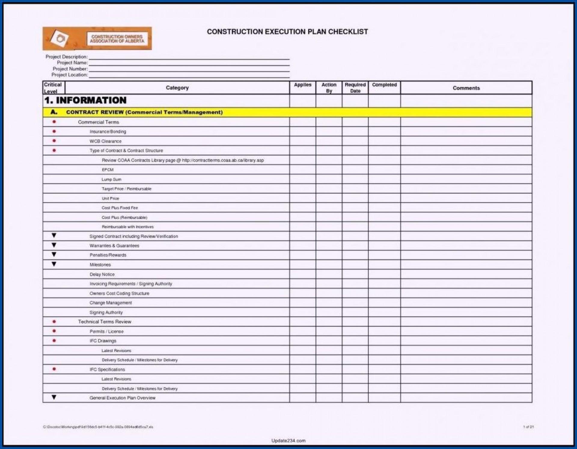 003 Fantastic Project Management Checklist Template High Def  Audit Excel Plan1920