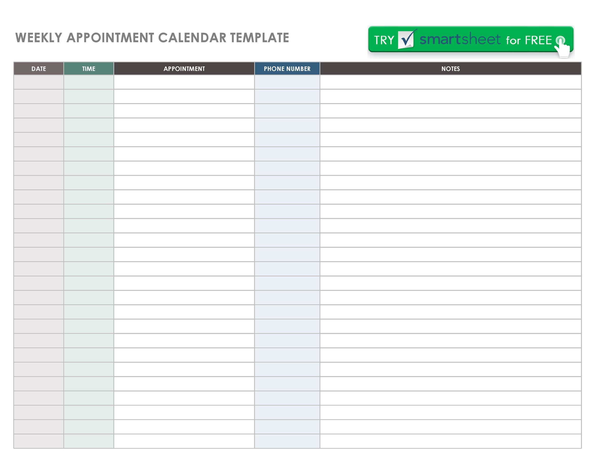 003 Fantastic Weekly Appointment Calendar Template Idea  Free WordFull