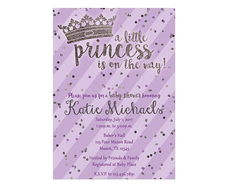 003 Fascinating Baby Shower Invitation Girl Purple Photo Full