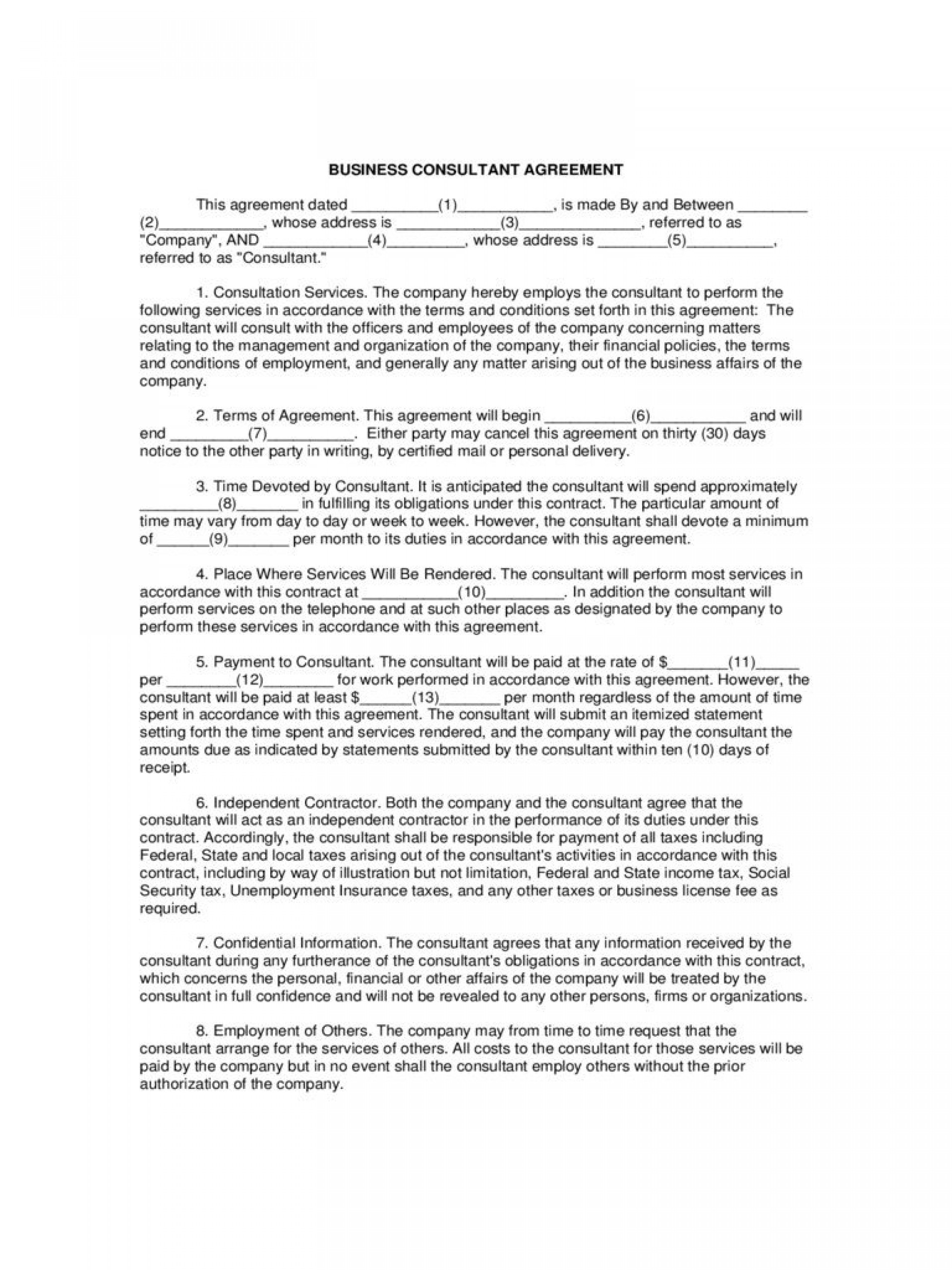 003 Fascinating Consulting Agreement Template Word Highest Quality  Sample Free1920