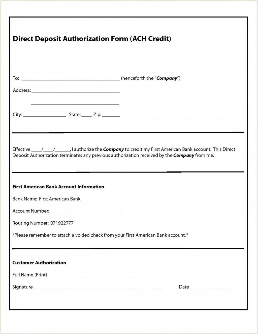 003 Fascinating Direct Deposit Agreement Authorization Form Template Sample Large
