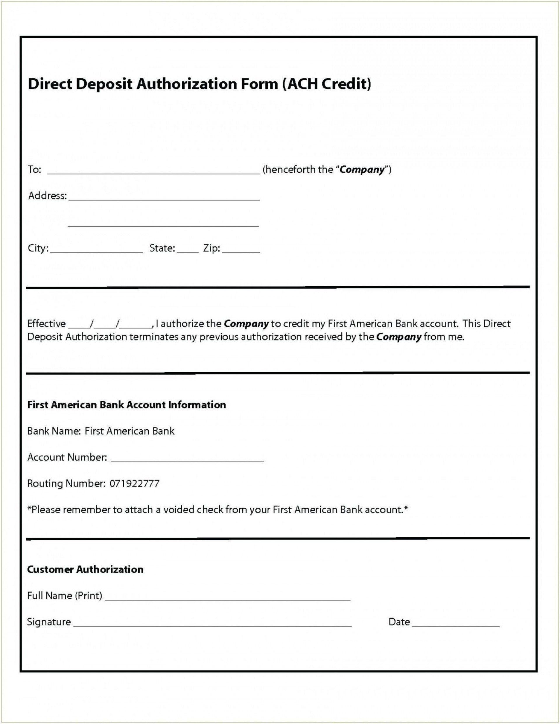 003 Fascinating Direct Deposit Agreement Authorization Form Template Sample 1920