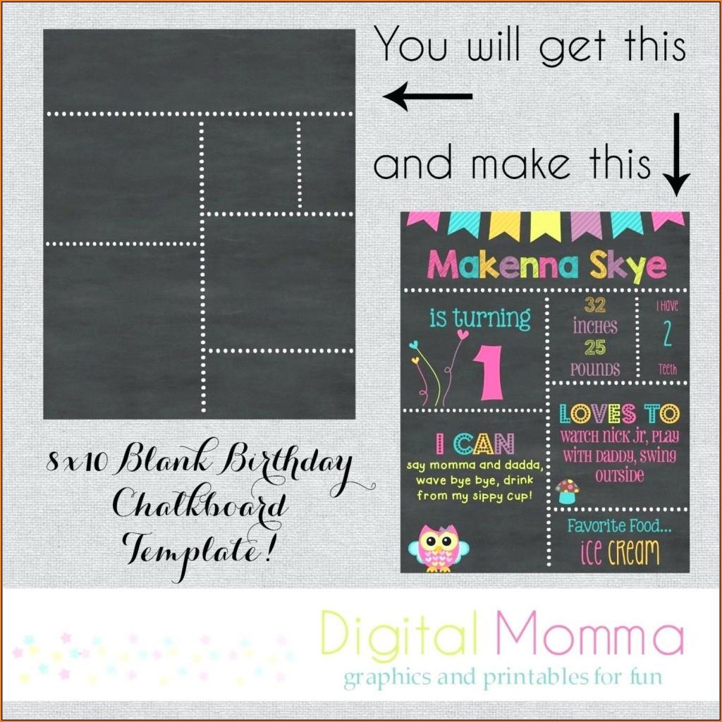 003 Fascinating First Birthday Chalkboard Template Image  Diy Printable FreeLarge