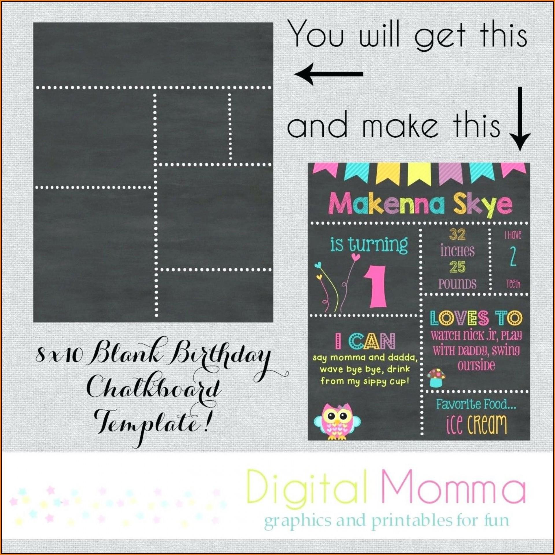 003 Fascinating First Birthday Chalkboard Template Image  Diy Printable Free1920