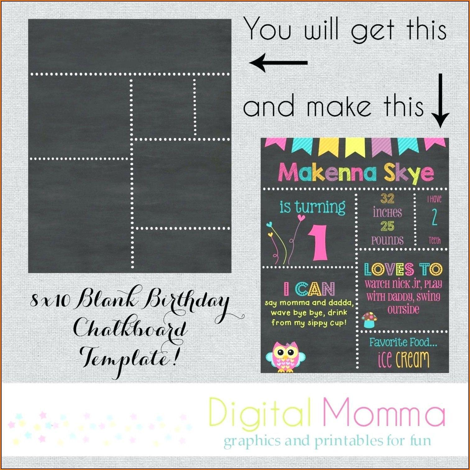 003 Fascinating First Birthday Chalkboard Template Image  Diy Printable FreeFull