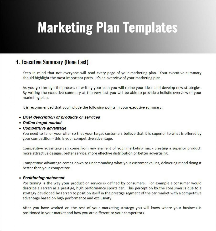 003 Fascinating Free Marketing Plan Template Word Photo  Digital Download1400