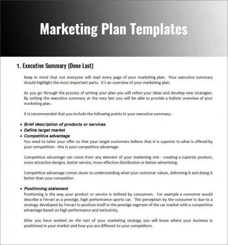 003 Fascinating Free Marketing Plan Template Word Photo  Digital Download728
