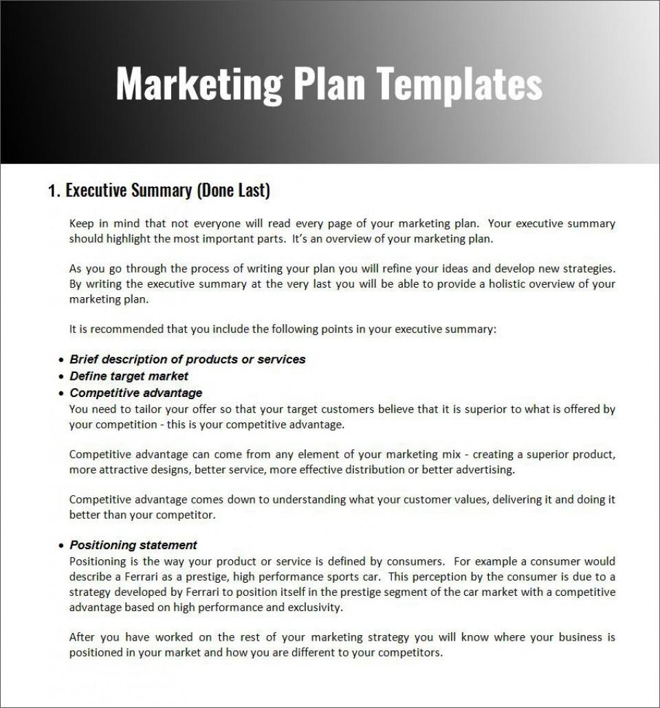 003 Fascinating Free Marketing Plan Template Word Photo  Digital Download960