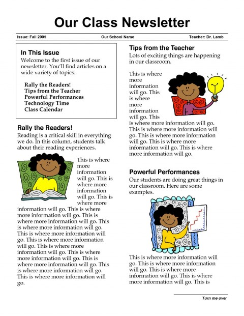 003 Fascinating Free Newsletter Template For Teacher Image  Downloadable Editable Preschool480