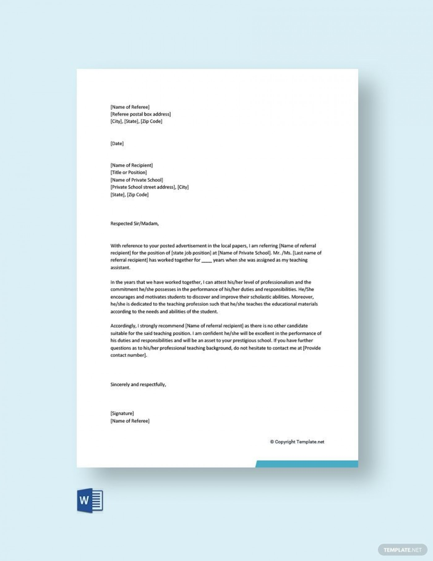 003 Fascinating Free Reference Letter Template Word Idea  Personal For Employment1400