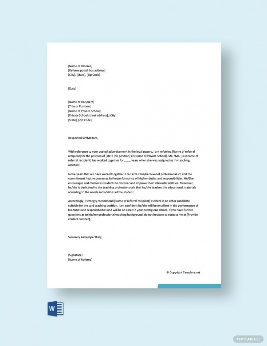 003 Fascinating Free Reference Letter Template Word Idea  Personal For Employment868