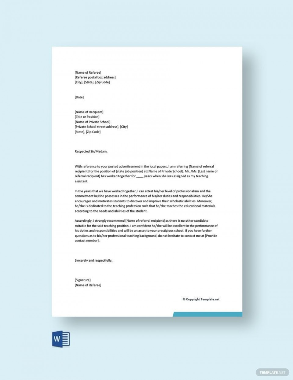 003 Fascinating Free Reference Letter Template Word Idea  For Employment Personal960