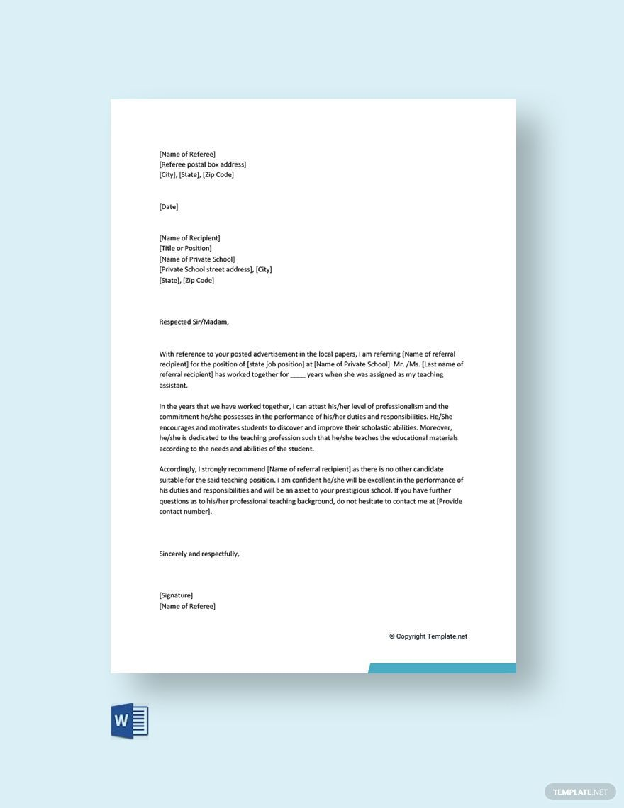003 Fascinating Free Reference Letter Template Word Idea  Personal For EmploymentFull
