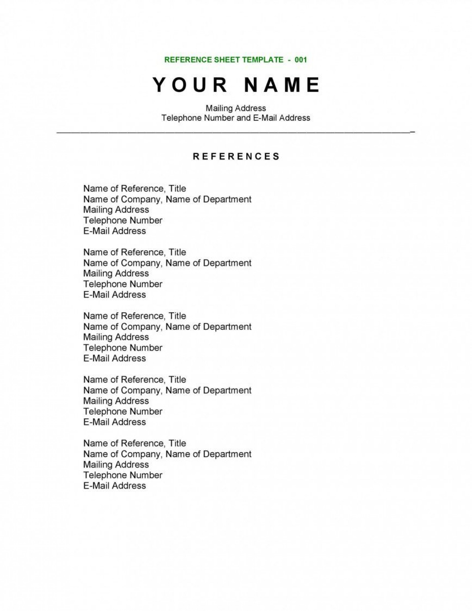 003 Fascinating Sample List Of Reference Template High Def 1920