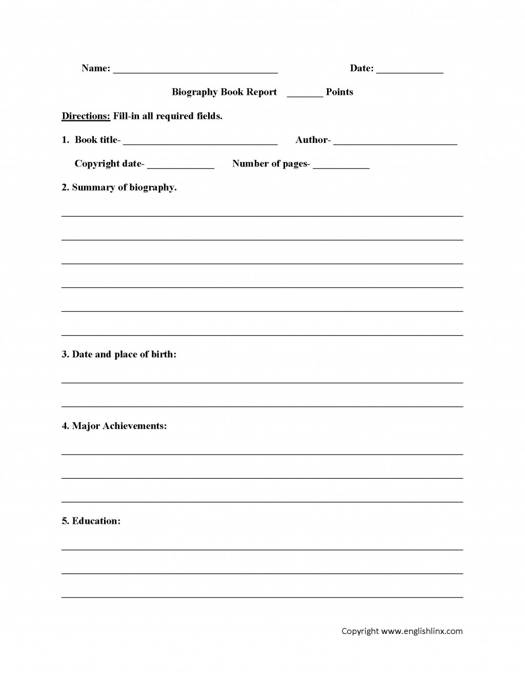 003 Fearsome 6th Grade Book Report Template Design  Sixth Format Printable Middle SchoolLarge