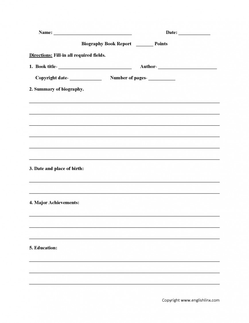 003 Fearsome 6th Grade Book Report Template Design  Example Biography Format Free Printable