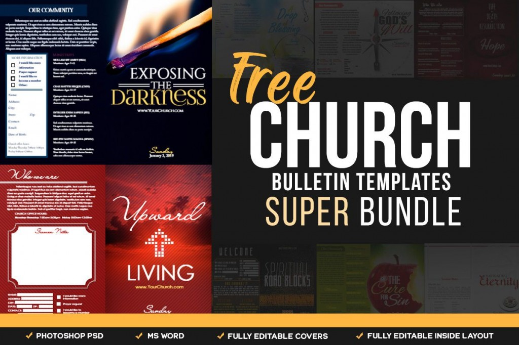 003 Fearsome Free Church Bulletin Template Word Design  Program ForLarge