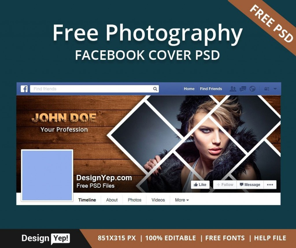 003 Fearsome Free Facebook Cover Template Concept  Templates PhotoshopLarge