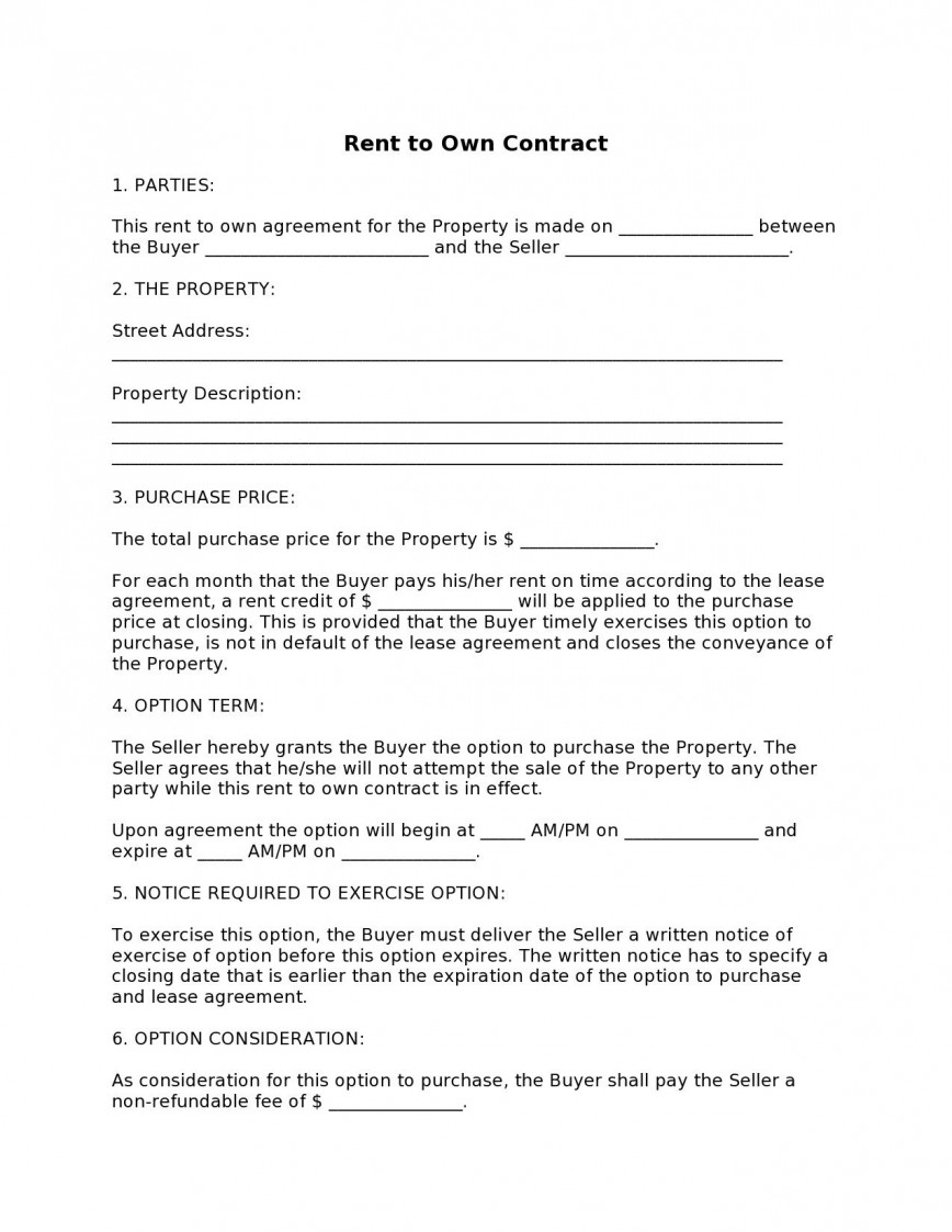 003 Fearsome Free Rent To Own Home Contract Template Idea  House Form
