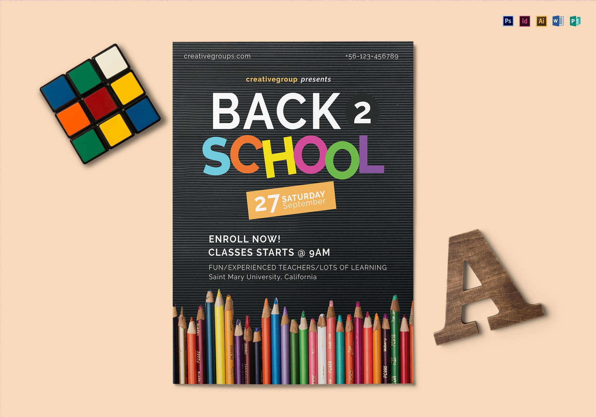 003 Fearsome Free School Flyer Design Template Photo  Templates Creative Education PosterFull