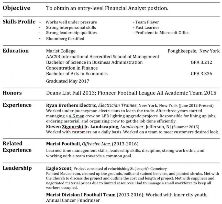 Investment Banking Resume Template ~ Addictionary