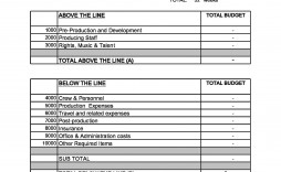 003 Fearsome Line Item Budget Template Film Sample