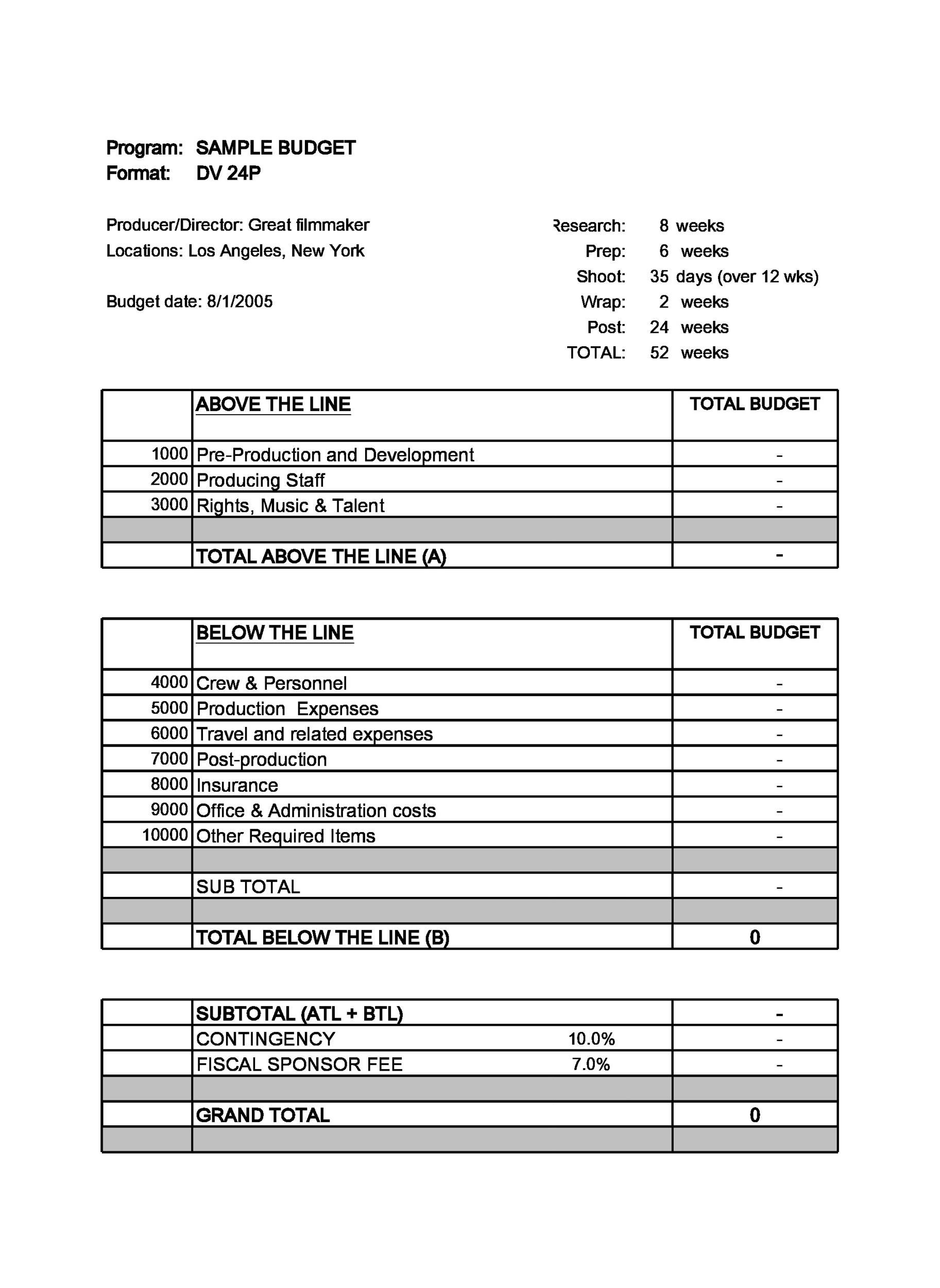 003 Fearsome Line Item Budget Template Film Sample Full